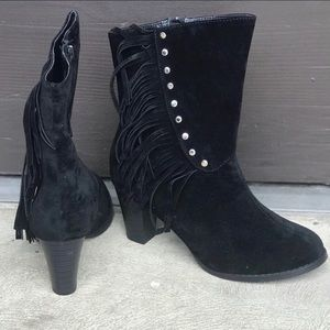 Alba Suede Fringed Mid Calf Boots Size 7